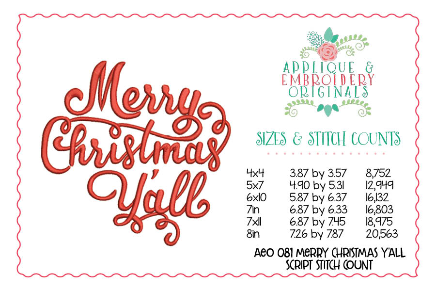 Merry Christmas Yall.081 Merry Christmas Y All Script Embroidery Design