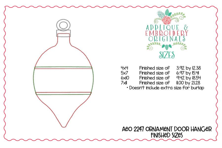 2247 Ornament Door Hanger In The Hoop Design Applique